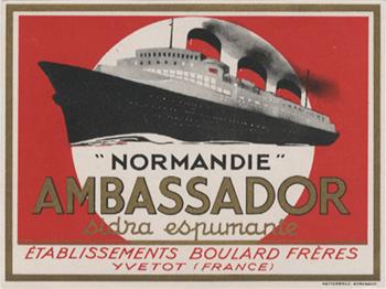 Paquebot Normandie - Etiquette bouteille d`alcool : `Ambassador` sidra espumante