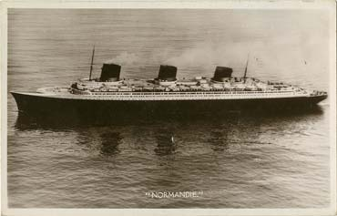 PAQUEBOT S.S. NORMANDIE - CARTE PHOTO ANGLETERRE GLACEE - EDITEUR ANONYME - Réf. SITE : ANGNBANOE 3-1 PSB