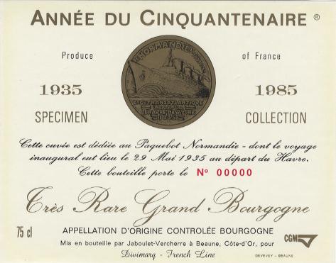 Paquebot Normandie - Etiquette bouteille de vin `Année du Cinquantenaire`