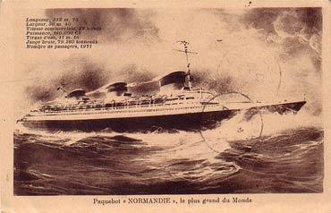 PAQUEBOT NORMANDIE - CARTE POSTALE CLASSIQUE SEPIA REF. ANOC 1-4-2
