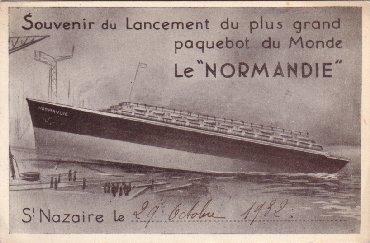 S/S NORMANDIE - Carte postales classique petit format - Anonyme noir et blanc