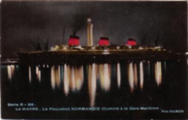 PAQUEBOT NORMANDIE- CARTE POSTALE GLACEE COULEURS EDITEUR ANONYME R 56-5