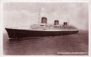 PAQUEBOT NORMANDIE - CARTE POSTALE GLACEE ANONYME REF. ANOG 3-1-60