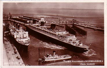 PAQUEBOT NORMANDIE - CARTE POSTALE GLACEE ANONYME REF. ANOG 3-2-57-2