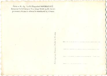 Paquebot S/S NORMANDIE - Carte postale Grand Format Glacée Noir et Blanc - Editeur : Anonyme - Réf. Site : ANOGFG 1-R954 PSB