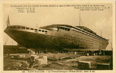 PAQUEBOT S.S NORMANDIE - Carte postale classique sépia - Editeur : ARTAUD - Réf. site : ARTC 1-139 PSB