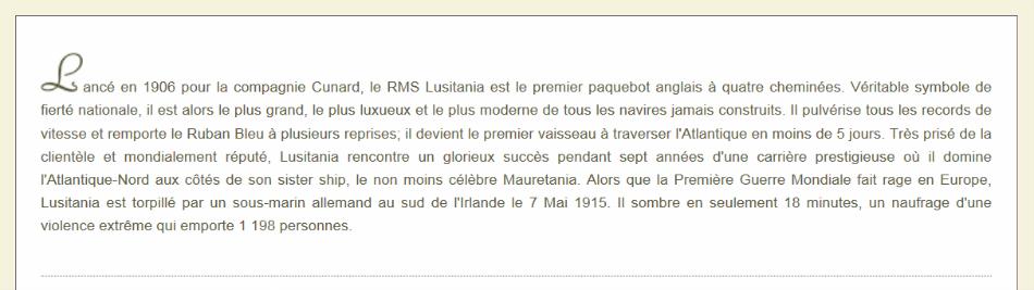 Bannière site www.rmslusitania.fr - Texte
