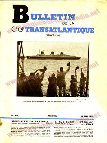 S.S NORMANDIE - Bulletin de la Compagnie Générale Transatlantique N 421 du 15 Mai 1935