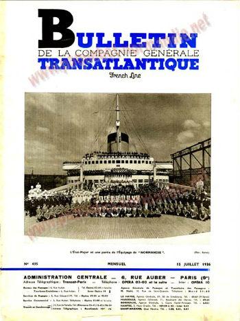 S.S NORMANDIE - Bulletin de la Compagnie Générale Transatlantique N 435 du 15 Juillet 1936