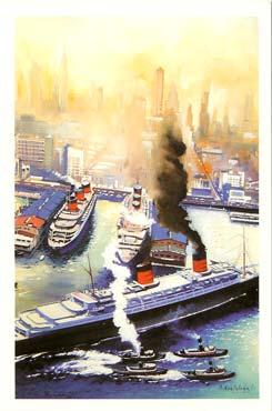 Paquebot S.S NORMANDIE - Carte-postale grand format glacée couleurs - Reproduction de Patrick BORTOLUZZI - Editeur : IMPRESSIONS - Réf. Site : BORTGFRA 2-4 PSB