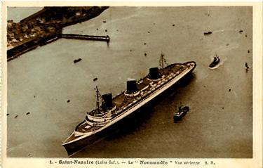 PAQUEBOT S.S NORMANDIE - Carte postale classique noir et blanc - Editeur : BRUEL - Angers - Réf. site : BRUELC 3-1 PSB