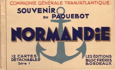 PAQUEBOT S/S NORMANDIE CARNET DE CARTES POSTALES PHOTOS B.R. - BLOC FRERES BORDEAUX