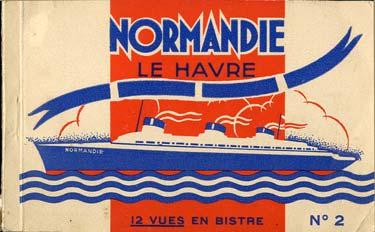 S.S NORMANDIE - CARNET DE CARTES POSTALES 12 VUES ELD 3-1
