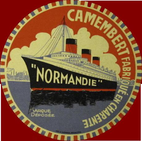 Paquebot Normandie - Etiquette de fromage : `NORMANDIE` - FABRIQUE EN CHARENTE