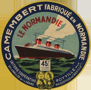 Paquebot Normandie - Etiquette de fromage Camembert Le Normandie