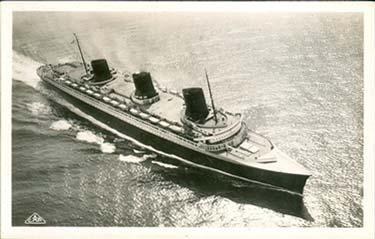 PAQUEBOT NORMANDIE - Carte postale CAP Glacée noir et blanc Réf. CAPG 11-78
