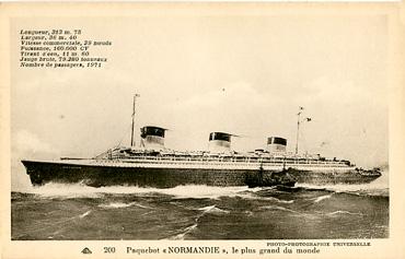 PAQUEBOT S.S NORMANDIE - CARTE POSTALE CLASSIQUE SEPIA - EDITEUR : CAP - REF.SITE CAPC-4-1-200-PSB