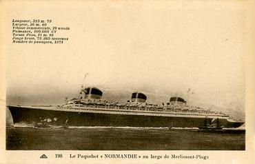 PAQUEBOT S.S NORMANDIE - CARTE POSTALE CLASSIQUE SEPIA - EDITEUR : CAP / EDITIONS DES BAZARS - REF.SITE CAP-BAZC 2-198 PSB