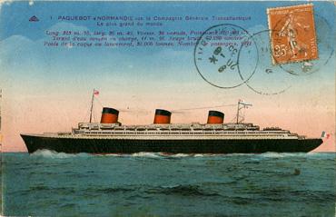 PAQUEBOT S.S NORMANDIE - Carte postale classique couleurs - Editeur CAP - Schiltigheim - Réf. site : CAPCOC 1-1 PSB