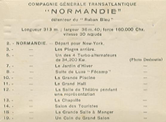 Paquebot Normandie - Carnet de photos petit format - Editeur : TITO - REF. SITE : CARPHOTTITO 2 - LEGENDES DES PHOTOS