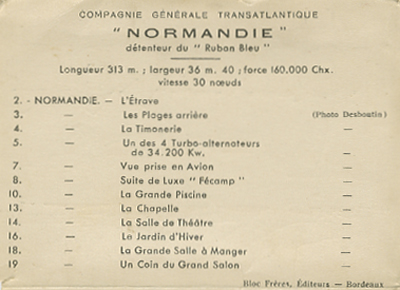 Paquebot Normandie - Carnet de photos petit format - Editeur : TITO - REF. SITE : CARPHOTTITO 3 - LEGENDES DES PHOTOS