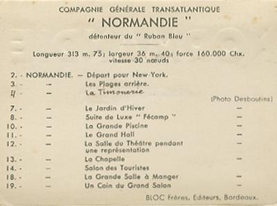 Paquebot Normandie - Carnet de photos petit format - Editeur : TITO - REF. SITE : CARPHOTTITO 4 - LEGENDES DES PHOTOS