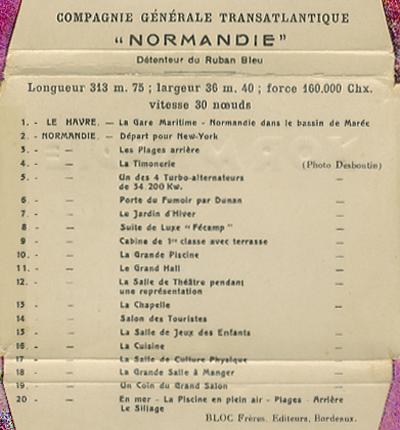 Paquebot Normandie - Carnet de photos petit format - Editeur : TITO - REF. SITE : CARPHOTTITO 5 - LEGENDES DES PHOTOS