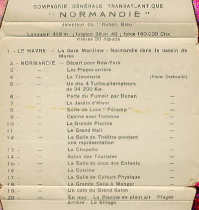 Paquebot Normandie - Carnet de photos petit format - Editeur : TITO - REF. SITE : CARPHOTTITO 6 - LEGENDES DES PHOTOS