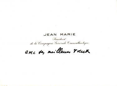 Paquebot NORMANDIE - Carte de voeux grand format du Président de la Cie Gle Transatlantique - French Line JEAN MARIE