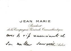 Paquebot NORMANDIE - Carte de voeux petit format du Président de la Cie Gle Transatlantique - French Line JEAN MARIE