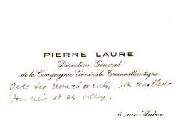 Paquebot NORMANDIE - Carte de voeux petit format du Directeur Général de la Cie Gle Transatlantique - French Line JEAN MARIE