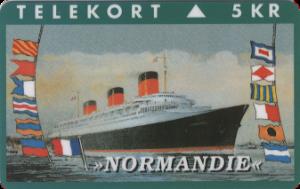 PAQUEBOT NORMANDIE - CARTE TELEPHONE DANEMARK