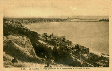 Paquebot Normandie - Carte postale classique sépia - Editeut : LA CIGOGNE - LE HAVRE - Réf Site : CIGC 4-2-38
