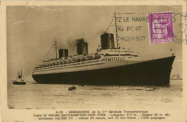 PAQUEBOT S.S NORMANDIE - Carte postale classique sépia LA CIGOGNE Réf. 5-4-39 Recto
