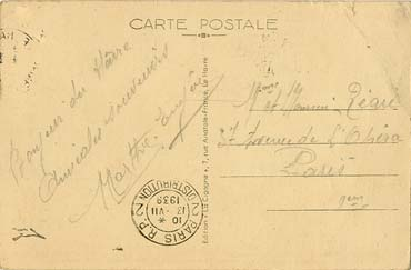 PAQUEBOT S.S NORMANDIE - Carte postale classique sépia LA CIGOGNE Réf. 5-4-39 Verso