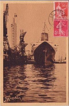 S/S NORMANDIE - Carte postale classique petit format sépia COMBC 3-1