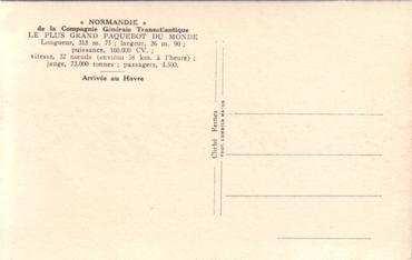 S.S NORMANDIE - Carte postale glacée COMBIER - Réf. COMBG 1-7-1 Verso