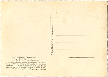 PAQUEBOT S.S NORMANDIE - CARTE POSTALE GRAND FORMAT GLACEE NOIR ET BLANC - EDITEUR : CAP - REF.SITE : CAPGFG 1-78 PSB