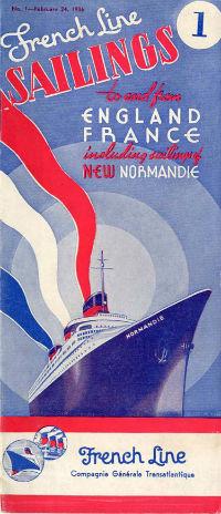 S.S NORMANDIE - CALENDRIER-TARIF 1936 - Réf. CT 1936-1