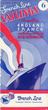 S.S NORMANDIE - CALENDRIER-TARIF 1936 - Réf. CT 1936-6