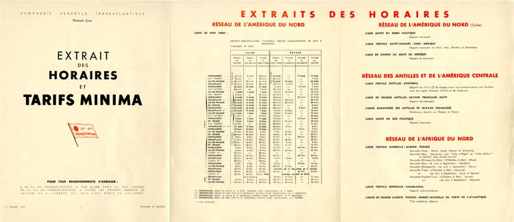 S.S NORMANDIE - CALENDRIER-TARIF 1939 - GRAND FORMAT FRANCE Réf. CTD 1939-2