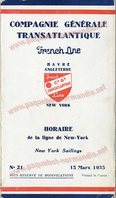 S.S NORMANDIE - CALENDRIER-TARIF 1935 - Réf. CTDF 1935-21-1