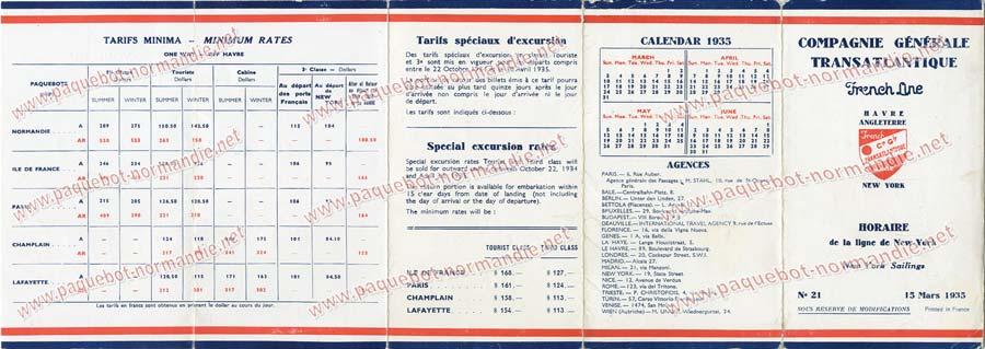 S.S NORMANDIE - CALENDRIER-TARIF 1935 - Réf. CTDF 1935-21-2