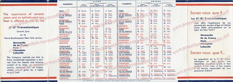 S.S NORMANDIE - CALENDRIER-TARIF 1935 - Réf. CTDF 1935-21-3