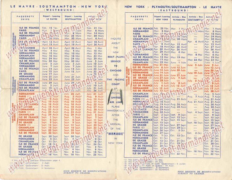 S.S NORMANDIE - CALENDRIER-TARIF 1939 - FORMATS DIVERS FRANCE Réf. CTDF CTDF-1939-46-2