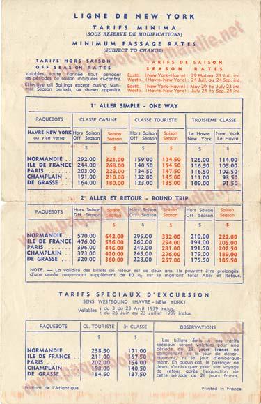 S.S NORMANDIE - CALENDRIER-TARIF 1939 - FORMATS DIVERS FRANCE Réf. CTDF CTDF-1939-46-3