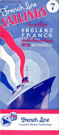 PAQUEBOT SS NORMANDIE - CALENDRIER-TARIF 1936-7-1