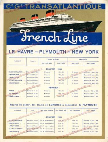 S.S NORMANDIE - CALENDRIER TRAINS TRANSATLANTIQUES CTD 1934-1