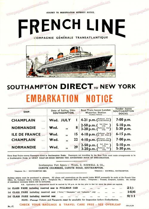 S.S NORMANDIE - CALENDRIER TRAINS-PAQUEBOTS CTTP 1936-1