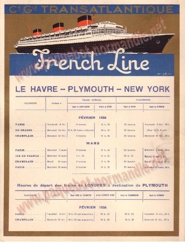 S.S NORMANDIE - CALENDRIER TRAINS TRANSATLANTIQUES CTTP 1934-2